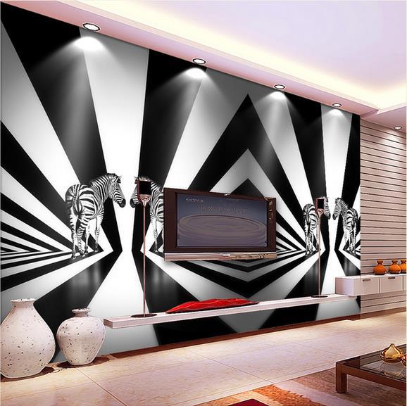 Photo Wallpaper 3D Stereo Black And White Striped Zebra