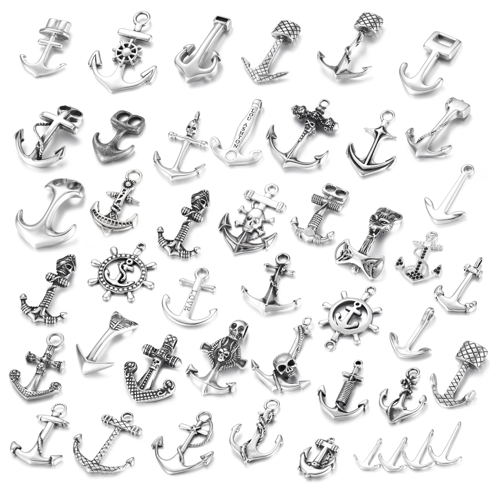 Stainless Steel Anchor Skull Pendant DIY Necklace Bracelet Hooks Charms Findings Jewelry Making Supplies Parts Wholesale in Pendants from Jewelry Accessories