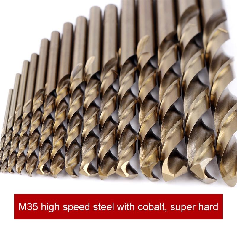 15pcs Cobalt Drill Bits For Metal Wood Working M35 HSS Co Steel Straight Shank 1.5-10mm Twist Drill Bit Power Tools Drill Bit