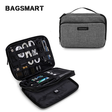 Bagsmart Double Layer Phone Charger Case/Travel Gear Organizer / Electronics Accessories Bag  (Large, Grey)