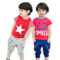 2016 Spring New 100% O'dell Cotton Children's SMILE Cute T-shirt Two Sets, Boys Tops Tees, Girls T-shirt +Short Pants