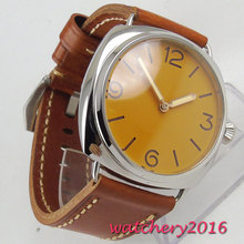 цена 47mm PARNIS Orange Sterile Dial Polished Stainless steel Case Top Brand Luxury 17 Jewels Hand Winding movement men's Watch онлайн в 2017 году