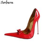 Sorbern/красные блестящие женские туфли лодочки на каблуке 14 см, 16 см, 18 см, золотистого цвета, с бантом, с острым носком, без шнуровки, обувь для в