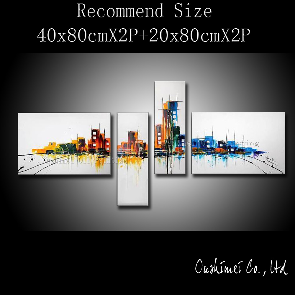 Handmade Modern Oil Painting Hang Paintings Wall Art Abstract Buliding Streeting Picture Home Decor Group Of Canvas In Calligraphy From