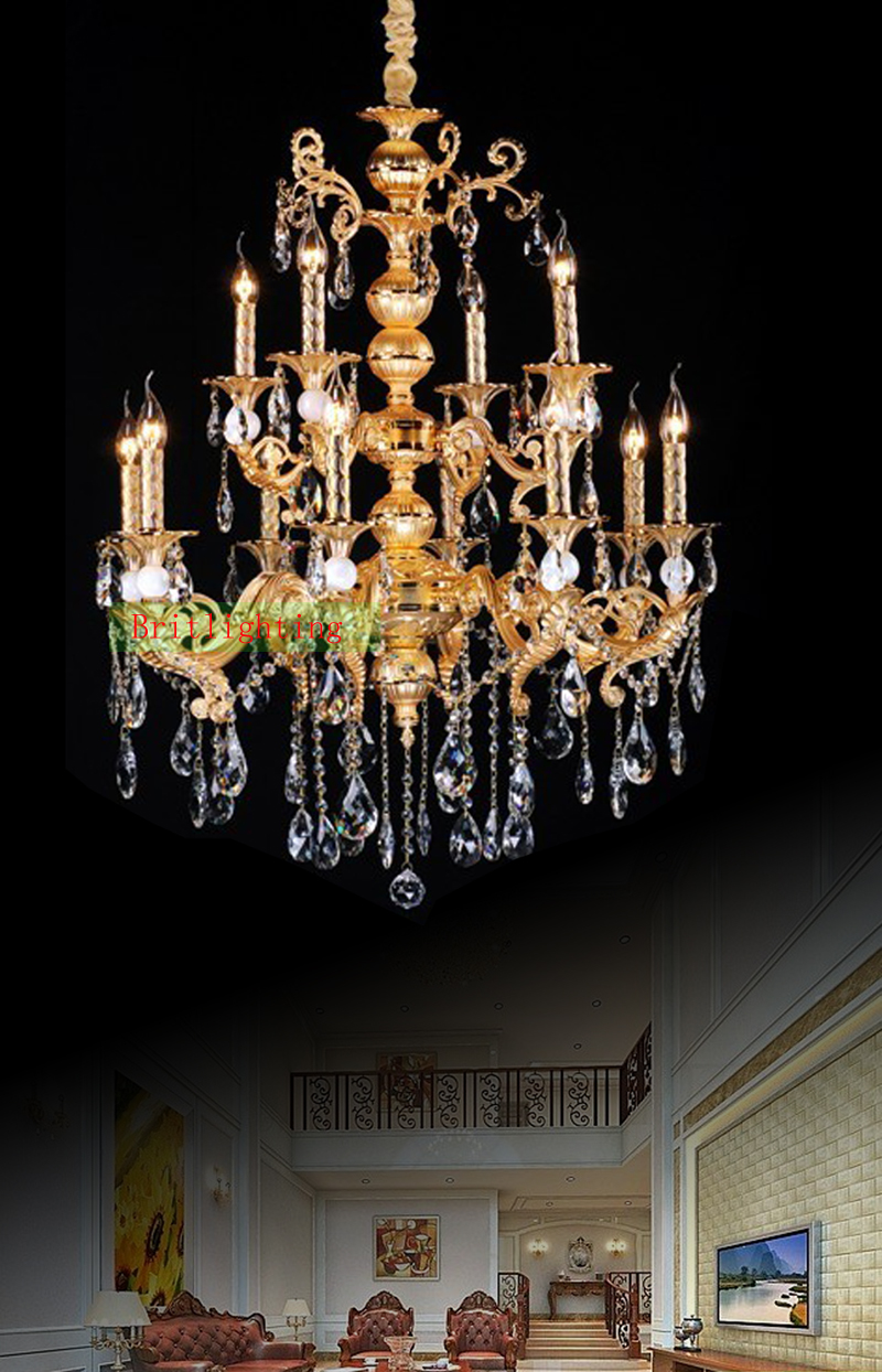 Gold plated zinc alloy crystal chandelier antique gold chandelier gold plated zinc alloy crystal chandelier antique gold chandelier kitchen island light vintage hanging chandelier lamp for hotel in chandeliers from lights mozeypictures Image collections