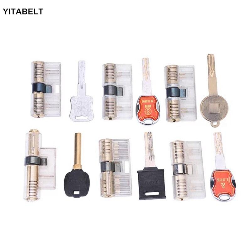 6 pièces ensemble Transparent pratique serrure à clé cadenas pratique serrures serrurier débutant