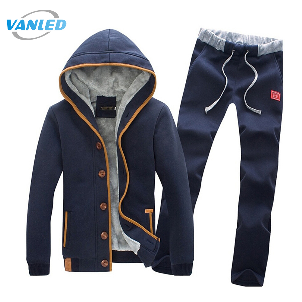 Winter Jacket Men Tracksuit Suit 2017 Fleece Cardigan Sweatershirt+Pants Sweat Homme Plus Size 3XL Hoodies Moleton Masculino