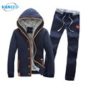 Winter Jacket Men Tracksuit Suit 2017 Fleece Cardigan Sweatershirt+Pants Sweat Homme Plus Size 3XL Hoodies Moleton Masculino