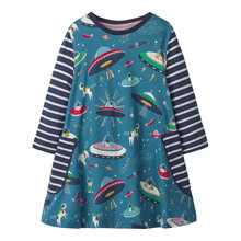 Jumping Meters Baby girls cartoon dresses printed space pockets unicorns kids clothing new designed princess party dress