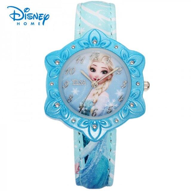 100% Genuine Disney Frozen Elsa princess girls wristwatch Kid rhinestone watches Children cartoon snowflake shape quartz watch