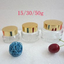 Empty Clear Cosmetic cream Glass Containers  Transparent Jar And Lids, Glass Pot For Cosmetics, Face Cream Glass Bottle Can Tin