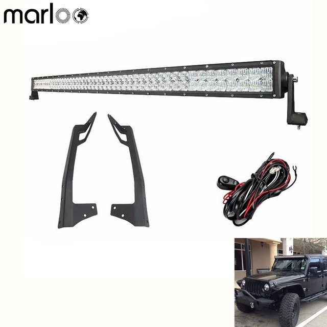 "Marloo 5D 52"" 300W / 50 INCH 288w LED Work LIGHT BAR WITH WRANGLER JK MOUNTING BRACKET KIT For JEEP JK 2007-2017"
