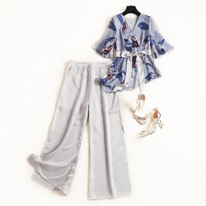 EAHILINCEA Summer Lady Plus Size V Neck Printed Ruffles 1/2 Sleeves 2 Piece Set Women