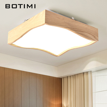 BOTIMI Wooden Ceiling Lights In Square Shape LED Real Wood Room Lamps For Bedroom Balcony Corridor Kitchen Lighting Fixtures
