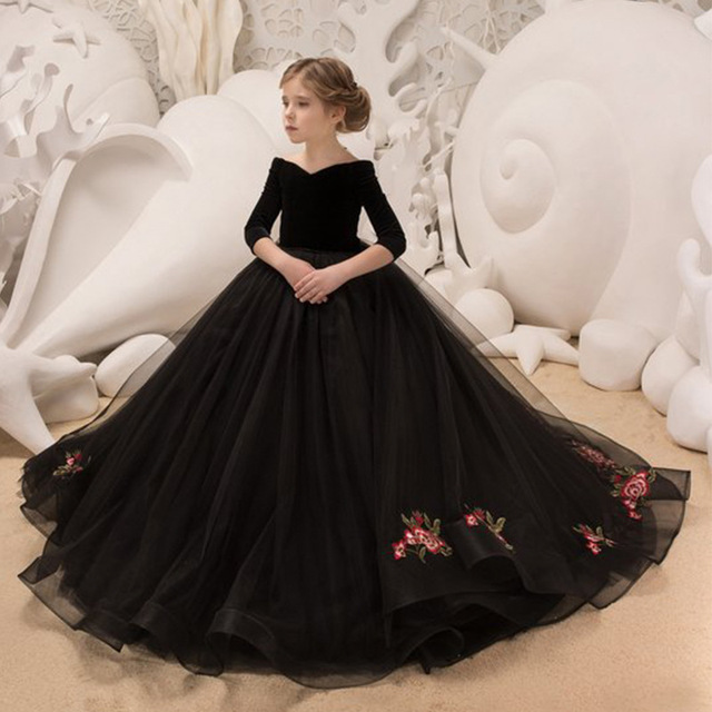 Princess Embroidery Black   Flower     Girl     Dresses   2019 Off Shoulder Organza   Girls   Pageant   Dress   Half Sleeves Birthday Party Gown