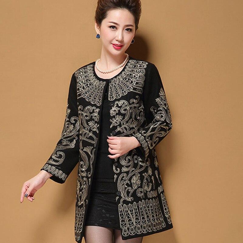 Manteau en laine Long 2018 Style européen hiver luxe magnifique cocon manteau broderie laine manteau femmes pardessus grande taille 5XL YM094