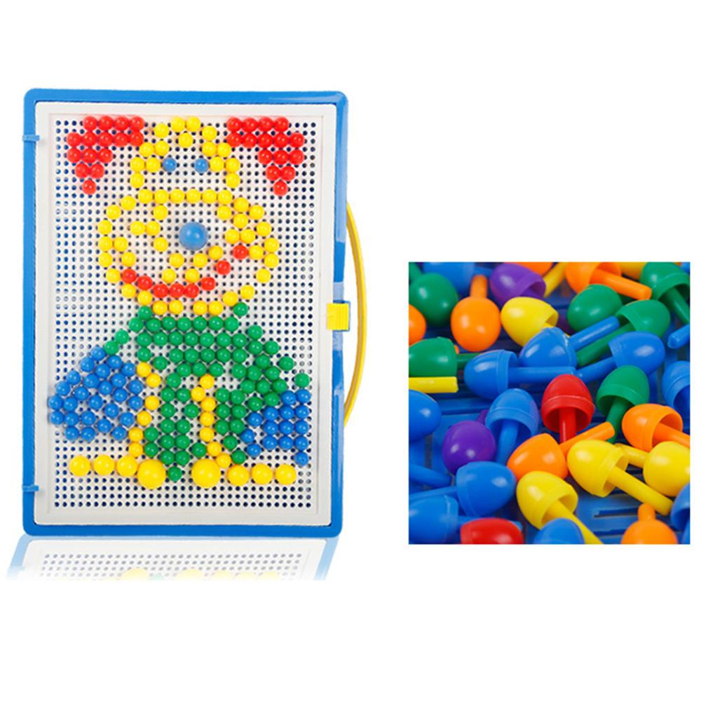 296Pcs/Set Mushroom Nail Puzzle Peg Board DIY Mosaic Kit Education Kids Toy Intelligence Develop Toys