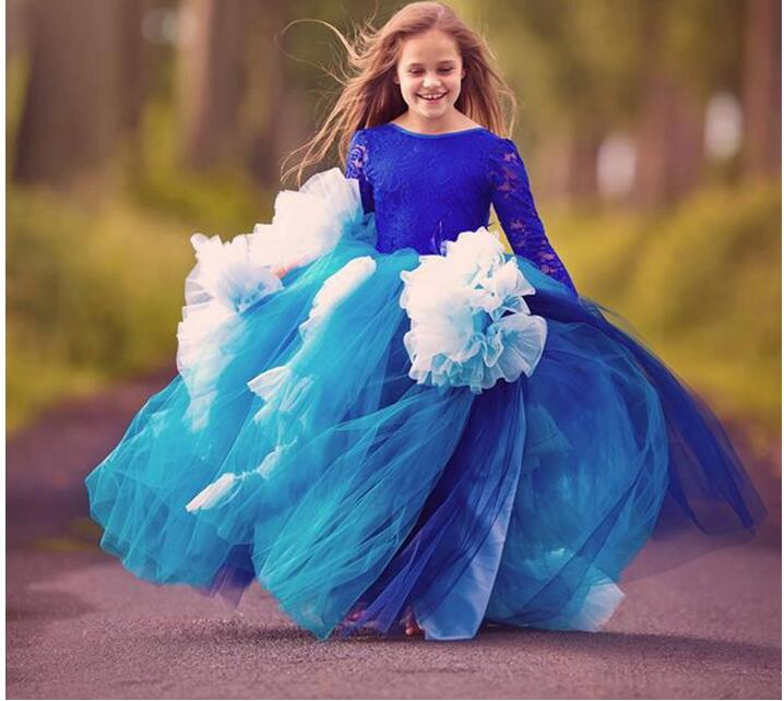 Royal Blue Tulle 2017 Girls Pageant Dress Costume Long Sleeve Lace Flower Girls Dress Puffy First Communion Gown Any Size