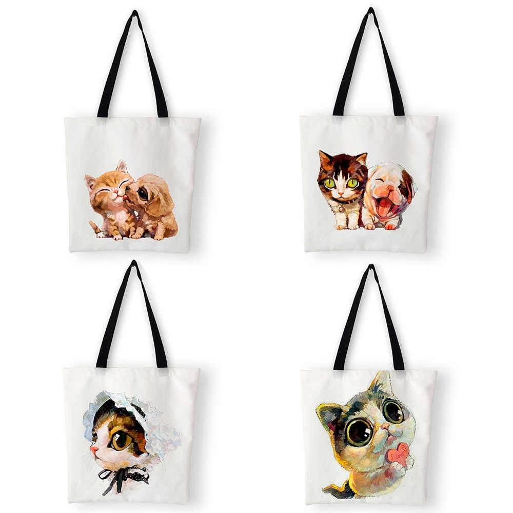 Student Canvas Bag Tote Cute Cat Dog Print Personalized Handbags Women's Shoulder Bags