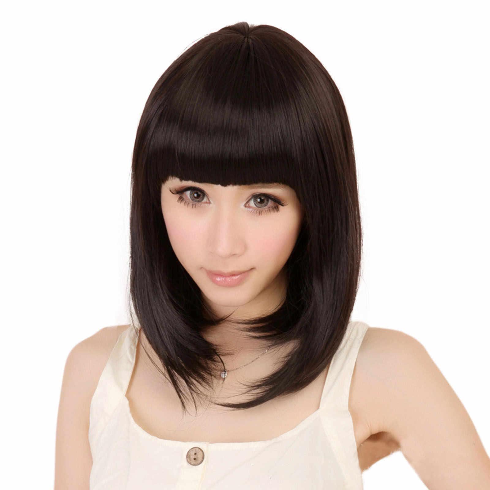 Модные женские черные прямые длинная челка парик-Боб вечерние Косплей Короткие парики