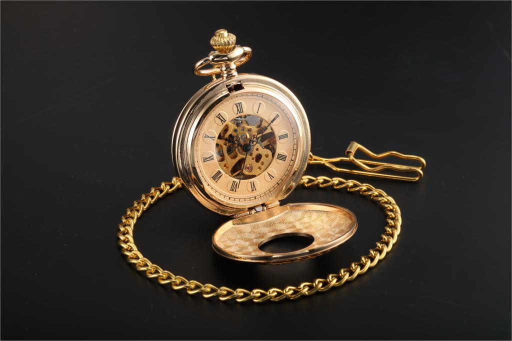 Men S Unique Steampunk Vintage Sliver Gold Copper Double Hunter Case Skeleton Mechanical Pocket Watch Man