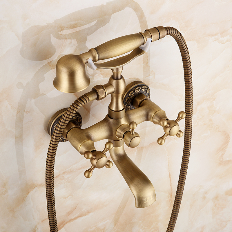 Antique Brushed Brass Bathroom Faucet With Ceramic Handle Crane Mixer Tap Bathroom Faucet Wall Mounted Bath & Shower Faucets xueqin bathroom bath shower faucets water control valve wall mounted ceramic thermostatic valve mixer faucet tap