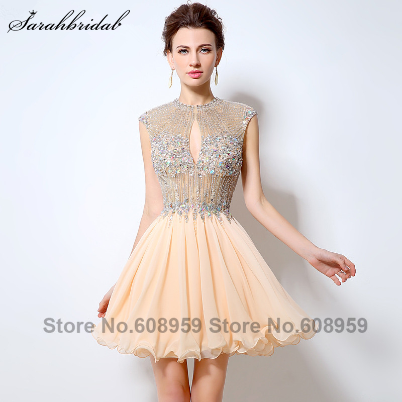 Sexy Backless Illusion Short Homecoming Dresses Luxury Crystal Beaded Sequins Chiffon Prom Dress Party Real Photo