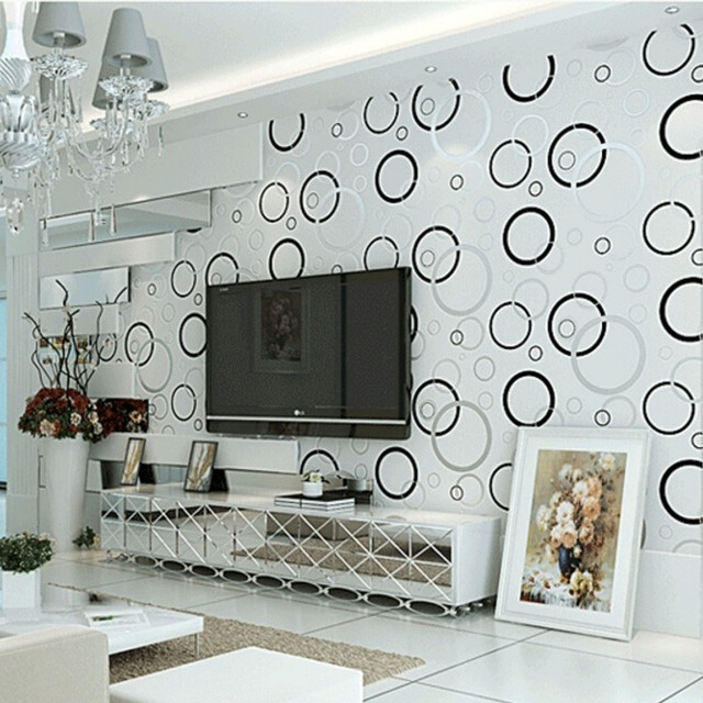Beibehang Wallpaper Modern Minimalist Bedroom Den Living Room Tv Backdrop Black And White Circle Wall