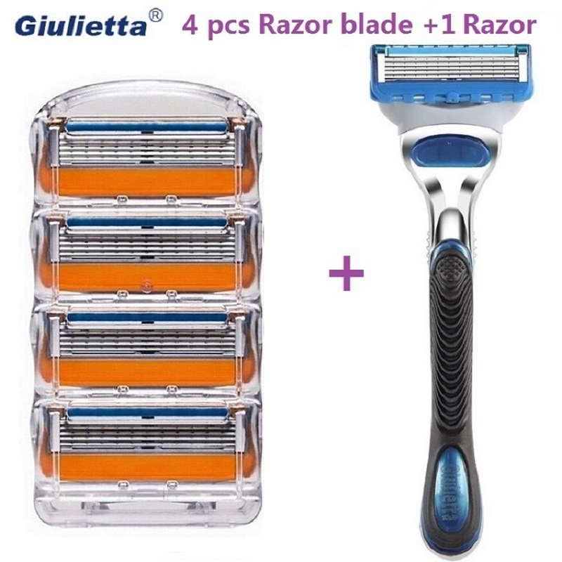 Giulietta Men Shaving Razor Blades 5 Layer Blade Cassettes Shaving Blades Compatible with Gillettee Fusione Razor Machine razor blades 5 layer blades shaving razor for men free shipping high quality razor