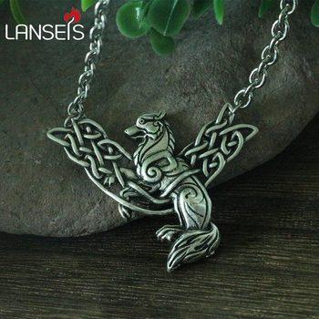 Lanseis 1 piezas vikingo celt Lobo hombres COLLAR COLGANTE Lobo pictillo animales joyería norse Lobo Fenrir símbolo
