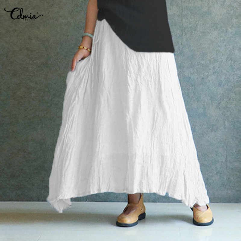 Spódnica długa lniana asymetryczna letnia plus bluzeczka