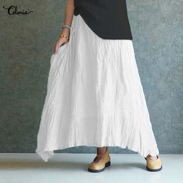 2020 Summer Celmia Women Vintage Linen Skirts Casual Loose Solid Long Skirt Elastic Waist Beach Pleated Maxi Skirts Plus Size