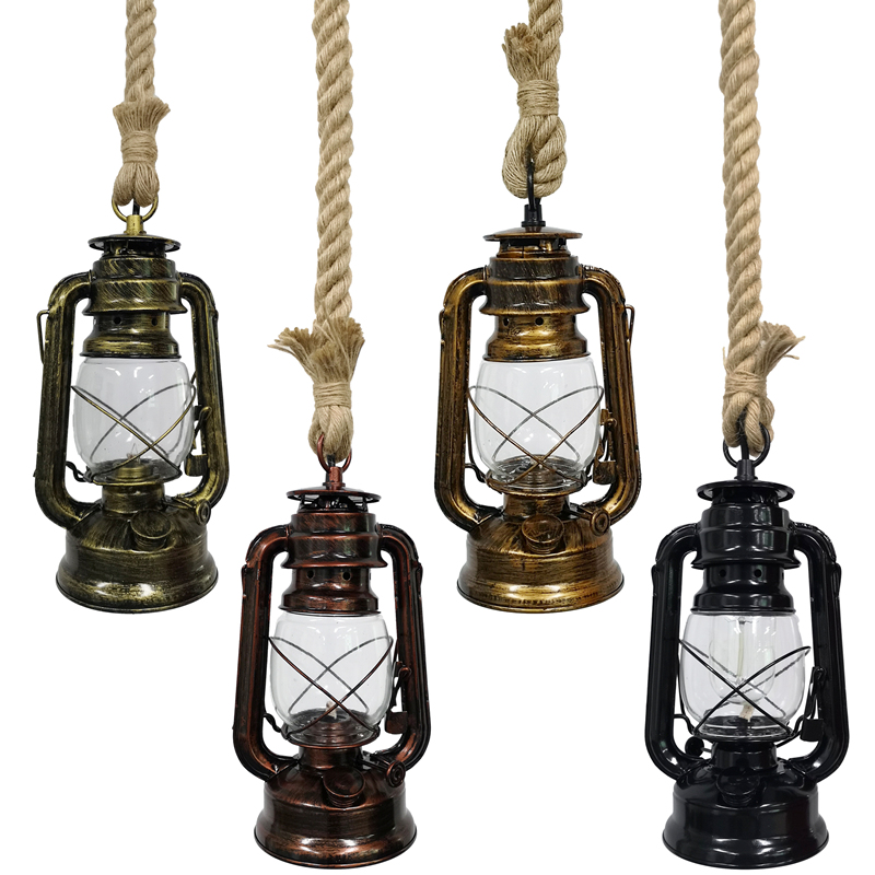 Vintage Pendant Lights Hang Lamp E27 Hemp Rope Lantern Kerosene Retro Pendant Lights Hanging Lamp Industrial Indoor Home Decor