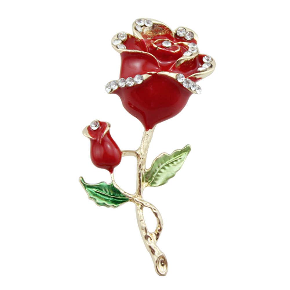 Moda mujer rosa Rhinestone esmalte DIY alfiler de broche de joyería teléfono caso accesorio caliente