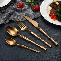 Hot Sale 4 Pcs Rose Gold Spindle type Dinnerware knife 304 Stainless Steel Western Cutlery Kitchen Food Tableware Dinner Set