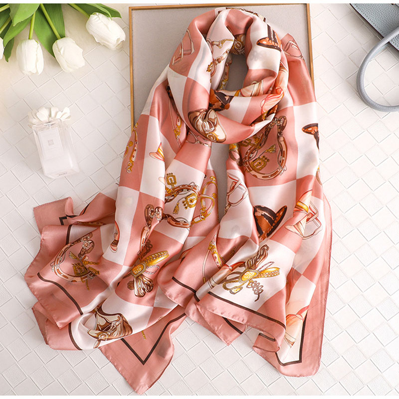 2019 New Silk Women   Scarf   Eur Fashion Stroll Paris Print   Scarves     Wraps   Headband Brand Gift Large Luxury Shawl Hijab