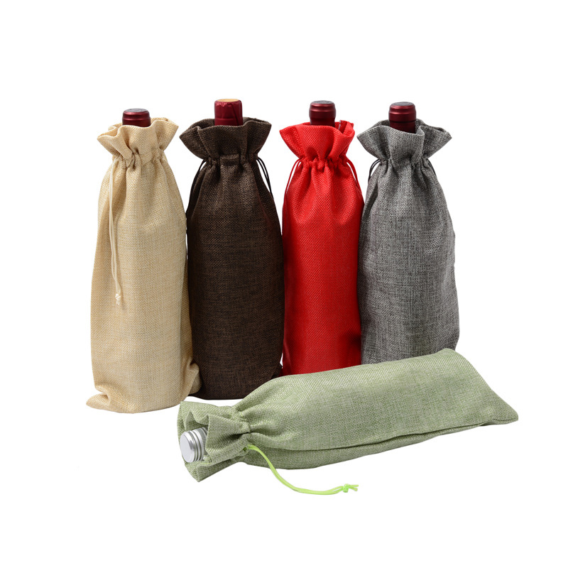 New Jute Wine Bags Red Wine Bottle Covers Gift Champagne Pouch Burlap Packaging Bag Wedding Party Decoration Wine Bags