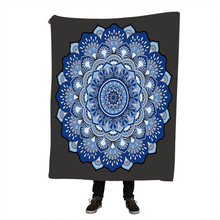 Bohemian Blanket for Beds Floral Paisley Thin Quilt Sky Blue Mandala Bedspread 120x150cm Fleece Throw