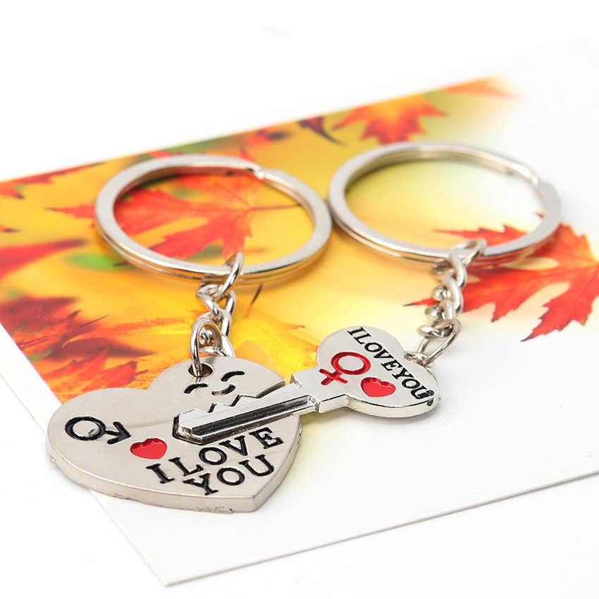 1 комплект, новая пара, брелок с надписью I Love You, кольцо для ключей с сердцем, серебристые влюбленные, брелок для ключей, цепи-сувениры, подарок на день Святого Валентина