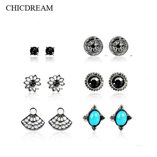 678970b89 6 Pairs Ethnic Bohemian Stud Earrings Sets Women Small Metal Nature Stone  Flower crystal Ear Studs