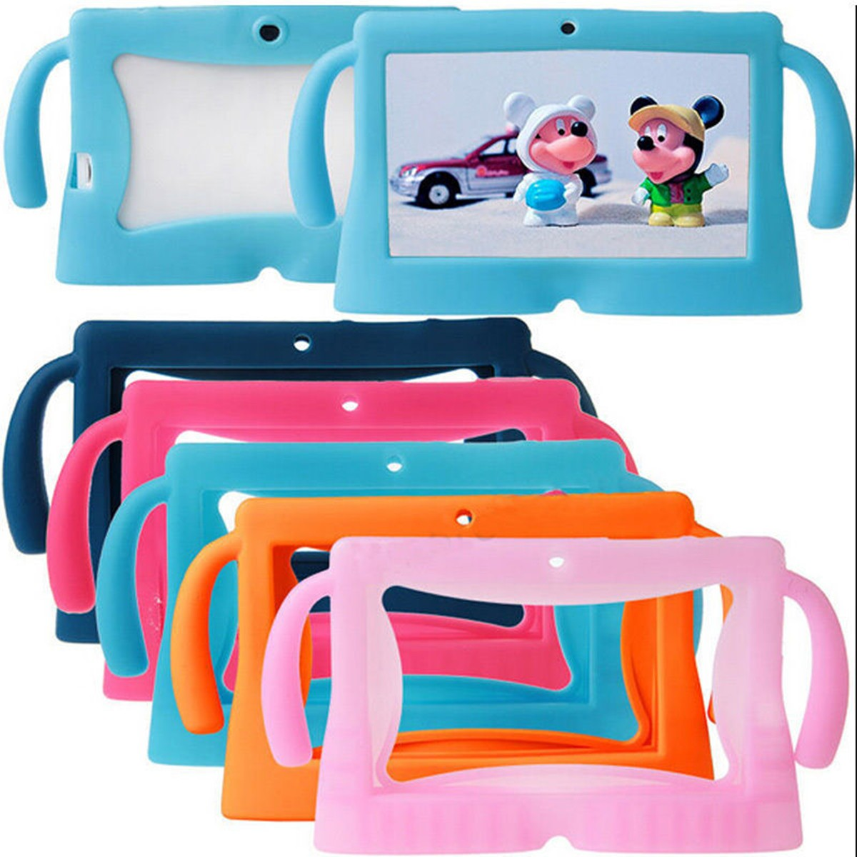 6 Colors Big Ears Series Safety Soft Silicone Gel Cover Case for Q88 universal for 7 Inch Kids Children e-Books Tablet PC