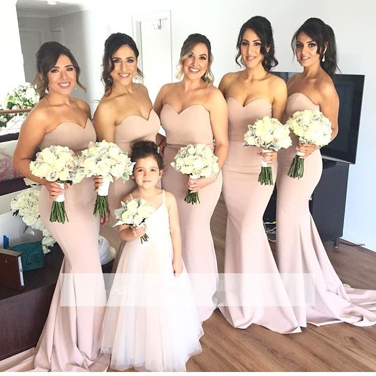 Backless 2019 Cheap   Bridesmaid     Dresses   Under 50 Mermaid Sweetheart Long Wedding Party   Dresses   For Women