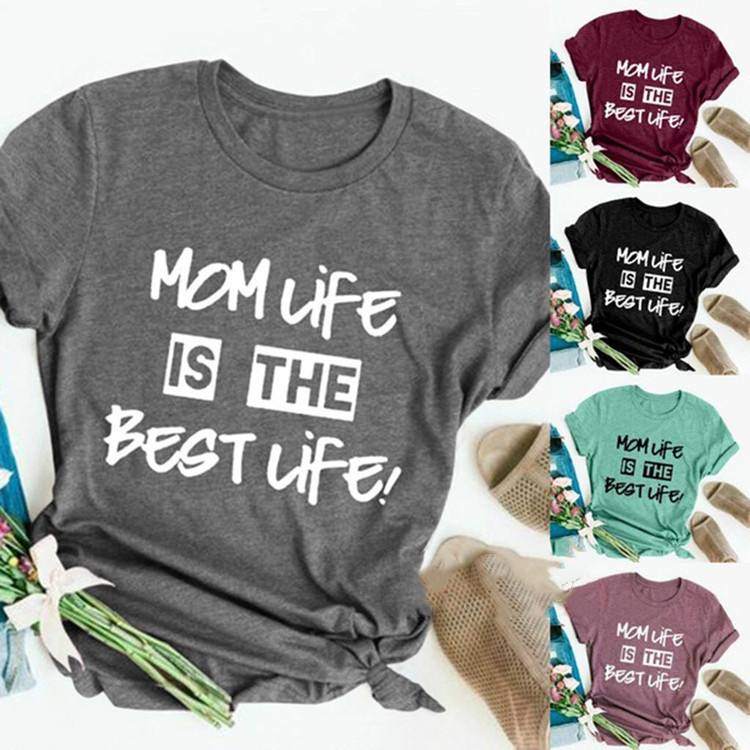 mom life best life tops 90s t shirt women christmas shirts 2019 graphic tees womens thanksgiving casual print o neck gothic in T Shirts from Women 39 s Clothing