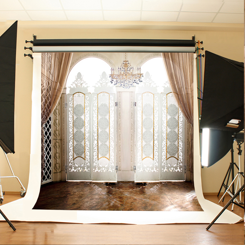Wedding Photo Backdrops White Screen Chandelier Party Photo Background Dark Tiled Ground Background for Photographic Studio