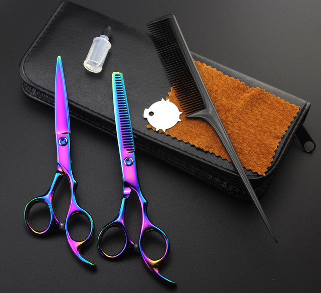 Profissional Hairdressing Scissors Hair Cutting Scissors Set Barber Shears  High Quality Salon 6inch with bag oil and comb