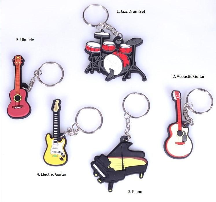 Musical Instrument Collection Souvenir  Keychain Guitar, Ukulele, Drum, Saxophone, Piano, Violin, Cello, Mandolin, Keyring