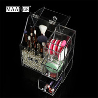 New MAANGE 1PC Multifunctional Transparent Makeup Organizer Jewelry Organizer Clear Lipstick Rack Cosmetic Brush Storage Box