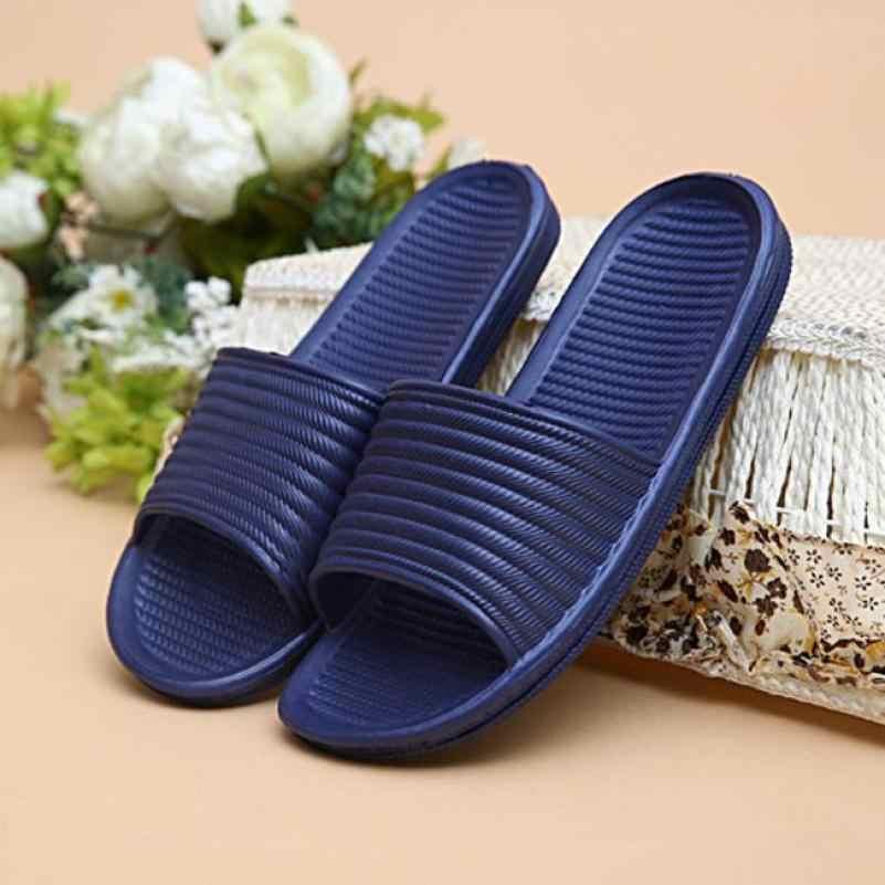 594aa94d0df 2018 new Man Stripe Flat Bath Slippers Summer Sandals Indoor   Outdoor  Slippers Hot mn Slippers