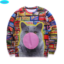 12-18years big kids brand sweatshirt girl youth fashion big cat 3D printed hoodies girls jogger sportwear teens W28