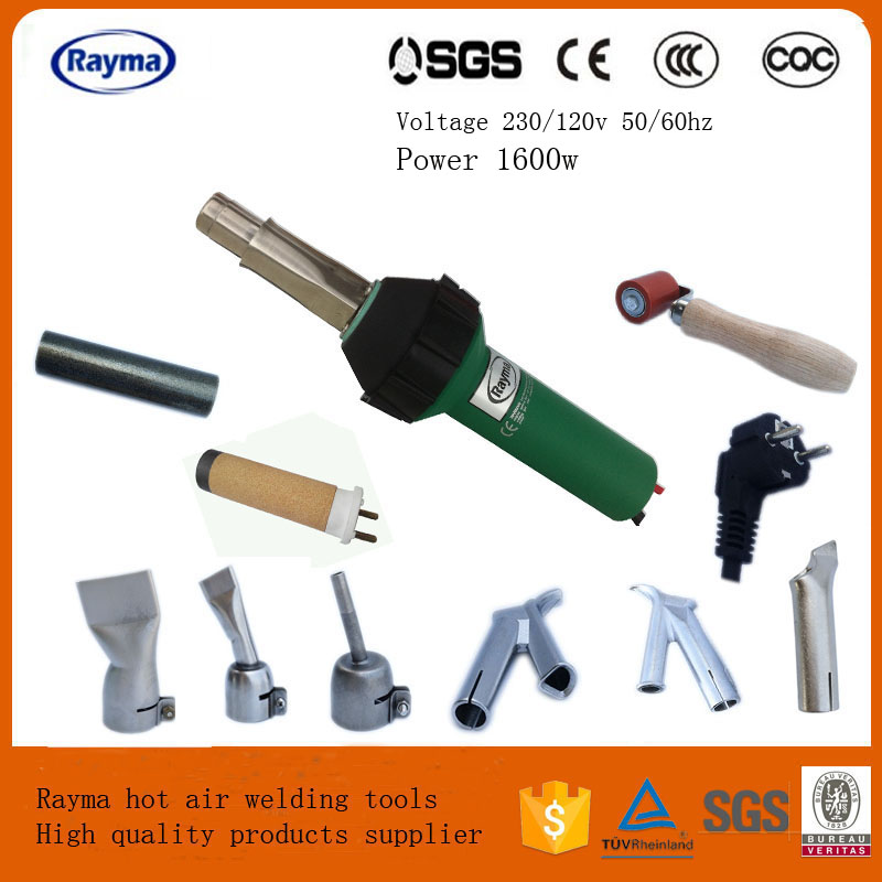 2017 Hot sale Rayma Brand 1600w hot air welder Plastic Welding Gun tools set With 2x Speed Welding Nozzle and 1x silicone roller